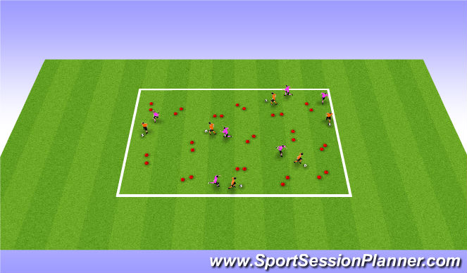 Football/Soccer Session Plan Drill (Colour): Opposed with Congestion