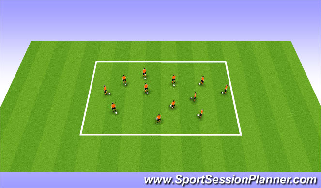 Football/Soccer Session Plan Drill (Colour): Un-Opposed with Congestion