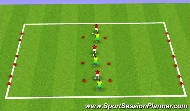 Football/Soccer Session Plan Drill (Colour): Skill 1 - 1v1