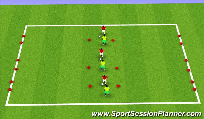 Football/Soccer Session Plan Drill (Colour): Skill 1 - 1v1