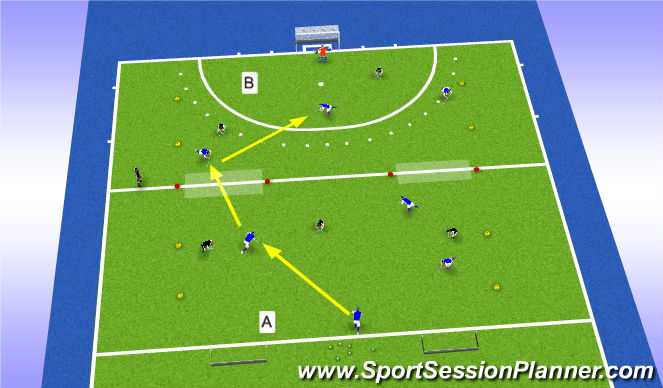 Hockey Session Plan Drill (Colour): Overtallen en opbouwen