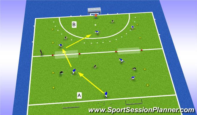Hockey Session Plan Drill (Colour): Overtallen en opbouwen