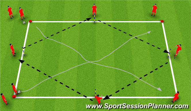 Football/Soccer Session Plan Drill (Colour): Step : FIRST TOUCH - Pass & Receive - Warm Up