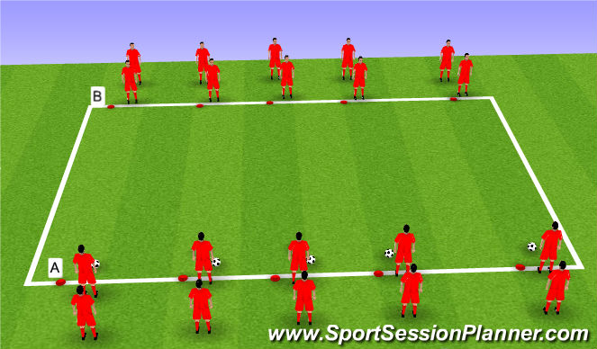 Football/Soccer Session Plan Drill (Colour): Step 1: Warm Up - Passing and Dynamics