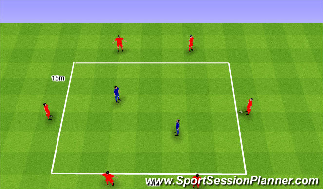 Football/Soccer Session Plan Drill (Colour): Rondo 6v2. Dziadek 6v2