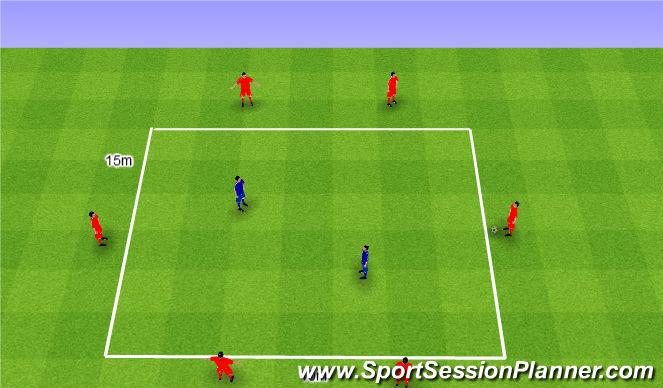 Football/Soccer Session Plan Drill (Colour): Rondo 6v2. Dziadek 6v2