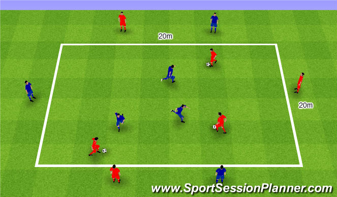 Football/Soccer Session Plan Drill (Colour): 1v1 with sides. 1v1 z bokami.
