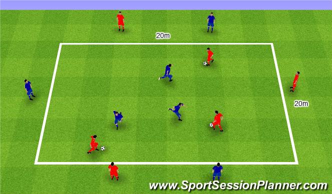 Football/Soccer Session Plan Drill (Colour): 1v1 with sides. 1v1 z bokami.