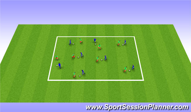 Football/Soccer Session Plan Drill (Colour): Step 2: Warm Up - Passive Defending