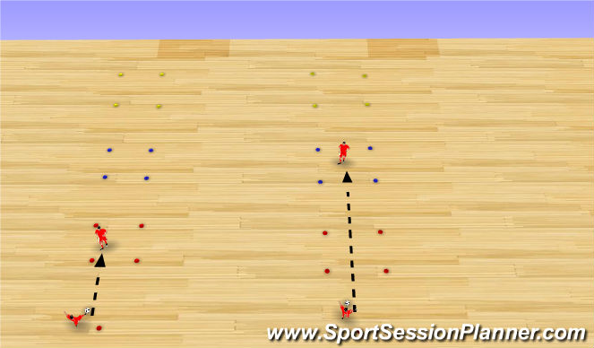 Futsal Session Plan Drill (Colour): Passing and Receiving ladder