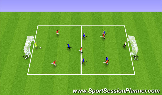 Football/Soccer Session Plan Drill (Colour): 6v6 (Underload Fitness)
