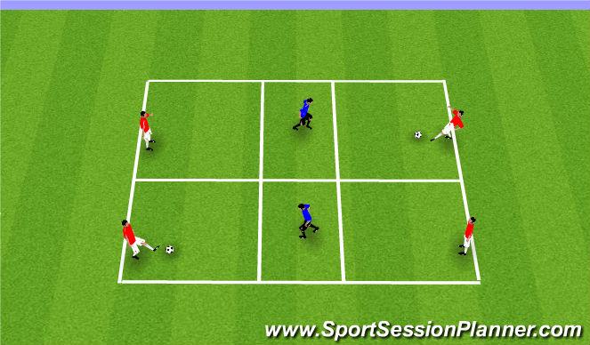 Football/Soccer Session Plan Drill (Colour): 2v1 Make Play Predictable