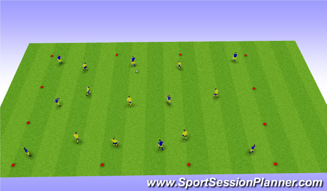 Football/Soccer Session Plan Drill (Colour): 40 One-Touch Passes