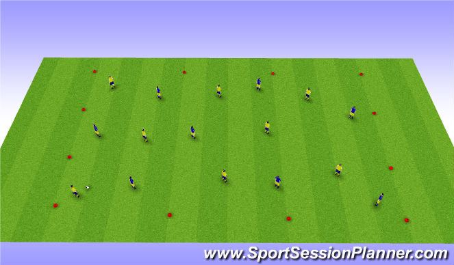 Football/Soccer Session Plan Drill (Colour): 40 One-Touches