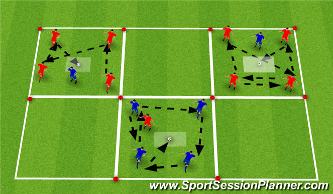 Football/Soccer Session Plan Drill (Colour): 4v1, knockout