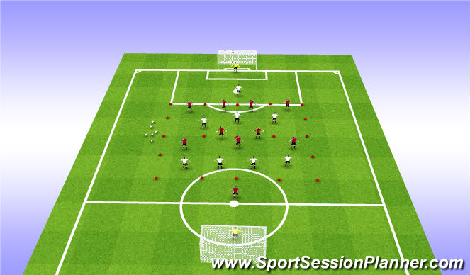 Football/Soccer Session Plan Drill (Colour): Zonal Blocks