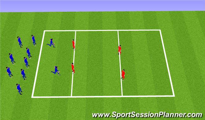 Football/Soccer Session Plan Drill (Colour): ラインドリブル鬼ごっこ