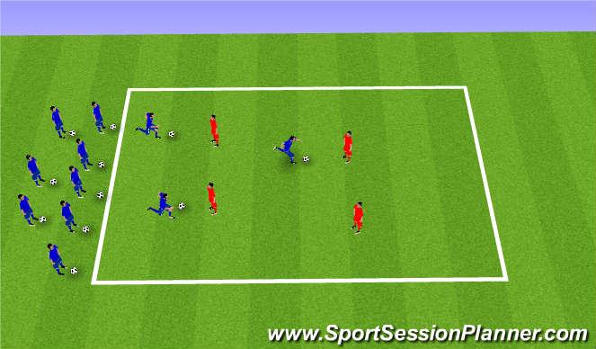 Football/Soccer Session Plan Drill (Colour): ドリブル鬼ごっこ