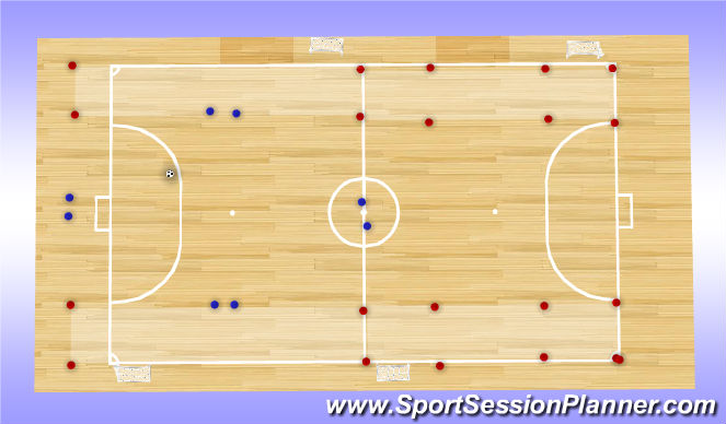 Futsal Session Plan Drill (Colour): Starting Setup