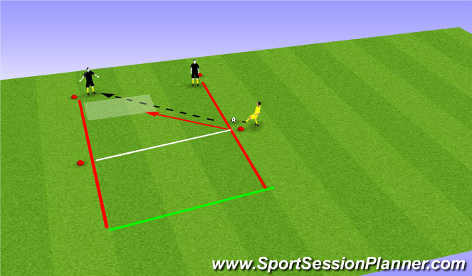 Football/Soccer Session Plan Drill (Colour): 2v1: passing into the zone