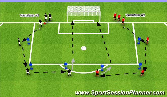 Football/Soccer Session Plan Drill (Colour): Variations #1 & #2