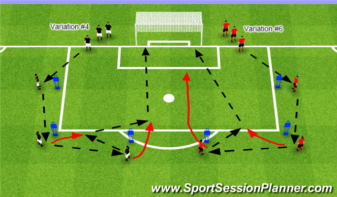 Football/Soccer Session Plan Drill (Colour): Variations #4 & #5