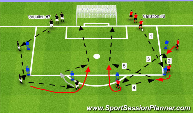 Football/Soccer Session Plan Drill (Colour): Variations #7 & #8