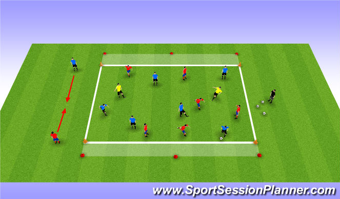 Football/Soccer Session Plan Drill (Colour): 6v6+2 to End Zones