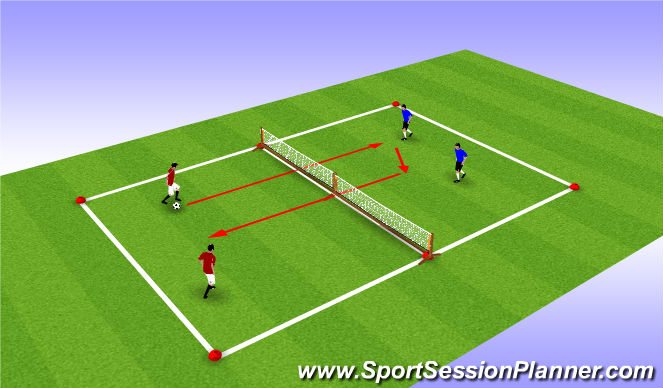 Football/Soccer Session Plan Drill (Colour): Leisure Warm Up - Foot - Volley