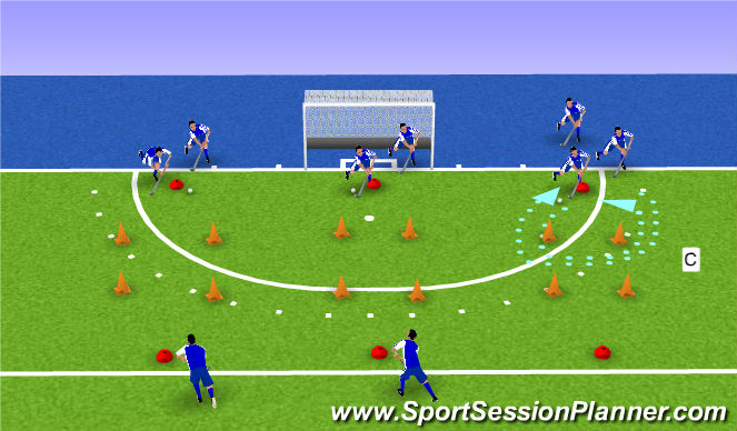 Hockey Session Plan Drill (Colour): warm up technical