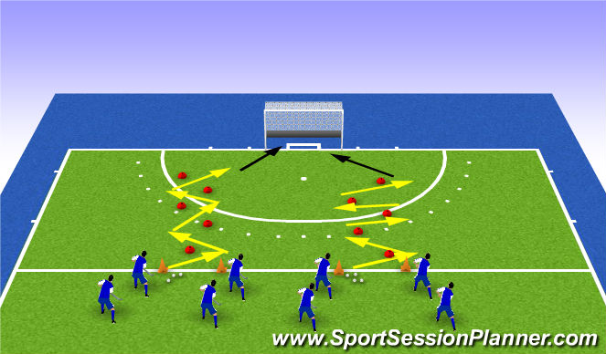 Hockey Session Plan Drill (Colour): passen met visie