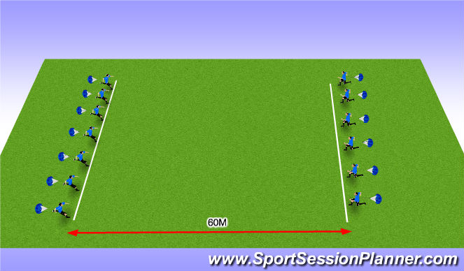 Football/Soccer Session Plan Drill (Colour): Sprints with Acceleration - 1&2