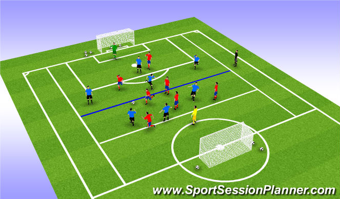 Football/Soccer Session Plan Drill (Colour): Extensive Interval Training - 8v8 W1S7