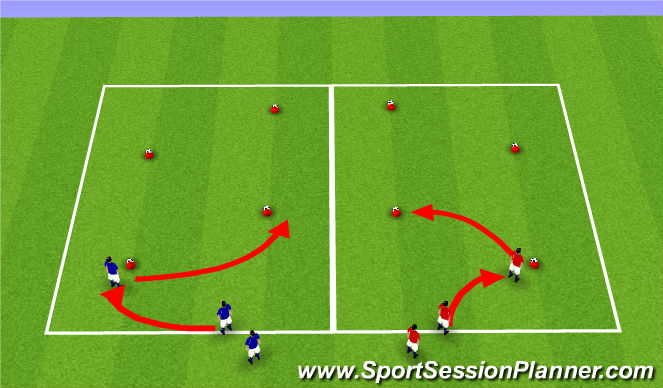 Football/Soccer Session Plan Drill (Colour): Def tech 1: press/cover