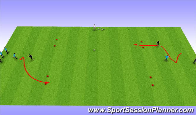 Football/Soccer Session Plan Drill (Colour): Warm Up Agility 1v1 Game