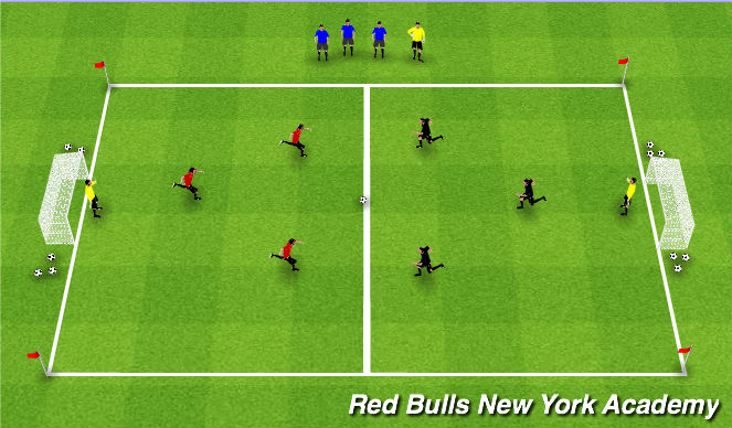 Football/Soccer Session Plan Drill (Colour): Team attack conditioned game.