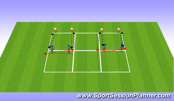 Football/Soccer Session Plan Drill (Colour): Technical Work (Both Feet) (Semi-Opposed)