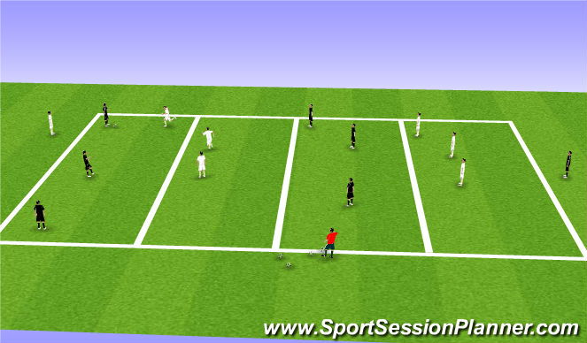 Football/Soccer Session Plan Drill (Colour): 4 zone defending game