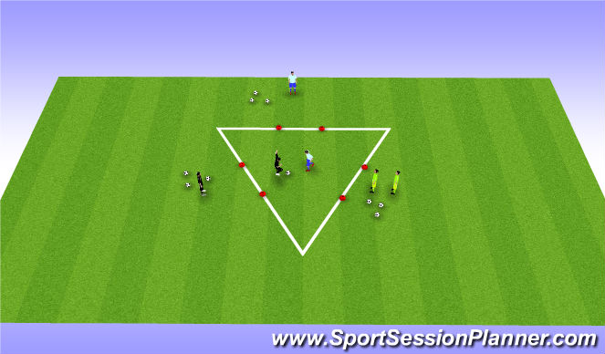 Football/Soccer Session Plan Drill (Colour): 1v1 in a triangle