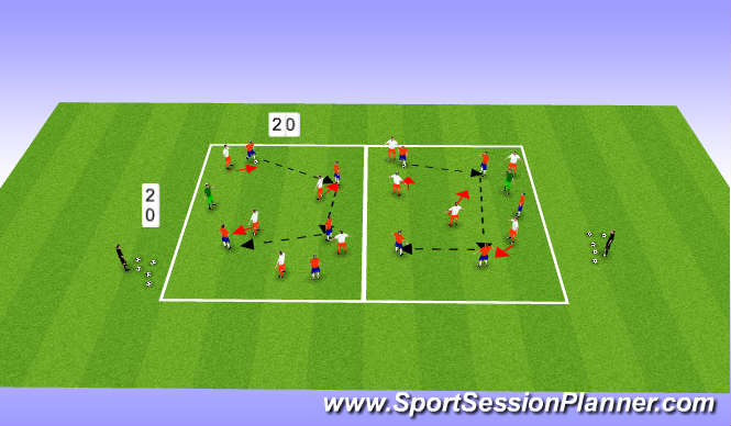 Football/Soccer Session Plan Drill (Colour): Possession (High Tempo)