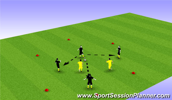 Football/Soccer Session Plan Drill (Colour): 4v2 Keep away