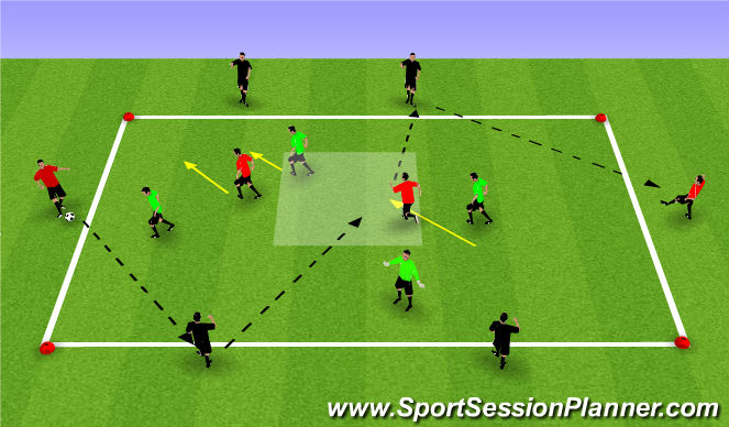 Football/Soccer Session Plan Drill (Colour): 4v4+4