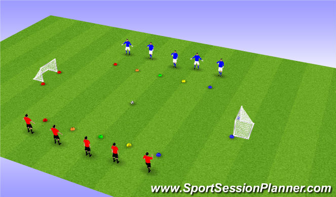 Football/Soccer Session Plan Drill (Colour): Lucky Colours - turn to score