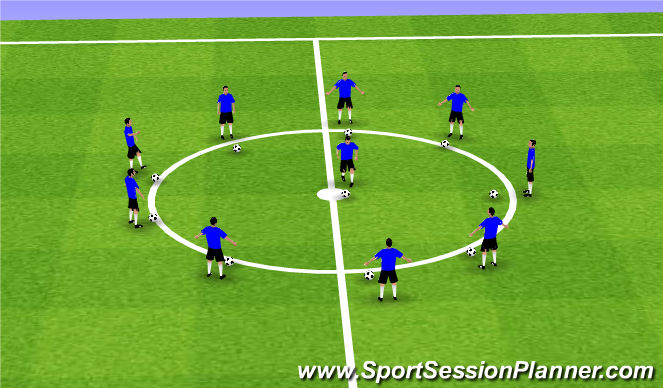 Football/Soccer Session Plan Drill (Colour): Warm-up/Coerver