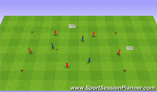 Football/Soccer Session Plan Drill (Colour): Rondo 5v3. Dziadek 5v3.