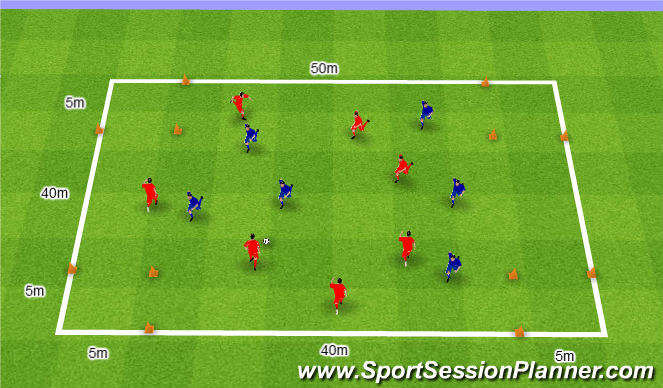 Football/Soccer Session Plan Drill (Colour): Gra nr 97. 7v6.