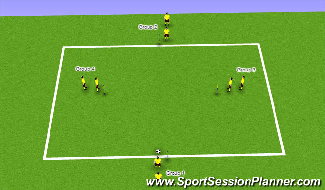 Football/Soccer Session Plan Drill (Colour): Warm Up Variation 8