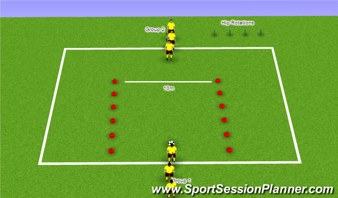 Football/Soccer Session Plan Drill (Colour): Warm Up Variation 9