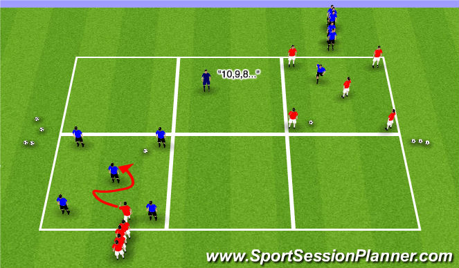 Football/Soccer Session Plan Drill (Colour): Warm-Up: 10-9-8...
