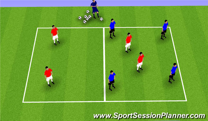 Football/Soccer Session Plan Drill (Colour): 4v2 Transition Game